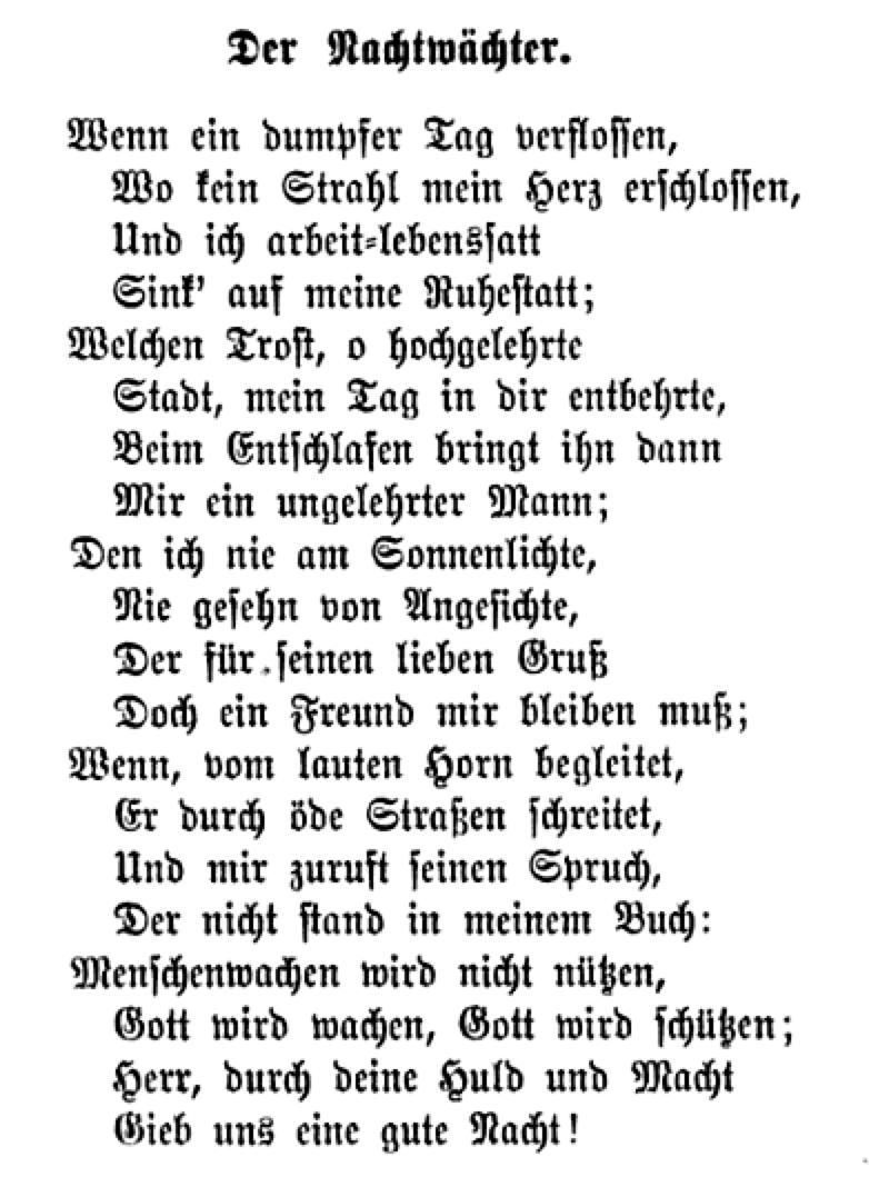 Der Nachtwächter. — Friedrich Rückert